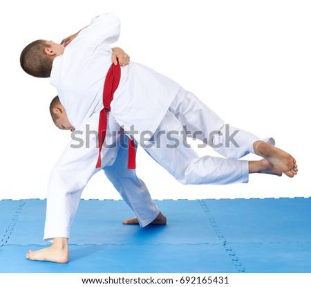 Boys athletes train high throw #692165431