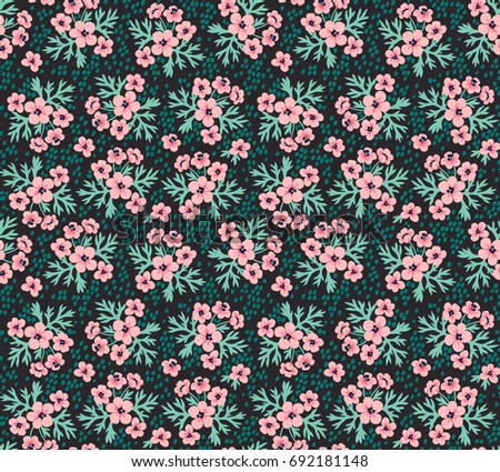 Vintage floral background. Seamless vector pattern for design and fashion prints. Flowers pattern with small pink flowers on a dark background. Ditsy style.  #692181148