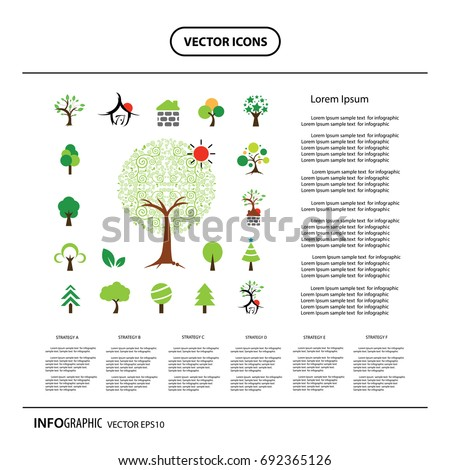 vector house and tree symbol set  #692365126