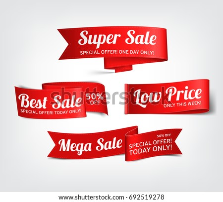 A set of red paper sale banners. Vector illustration. #692519278