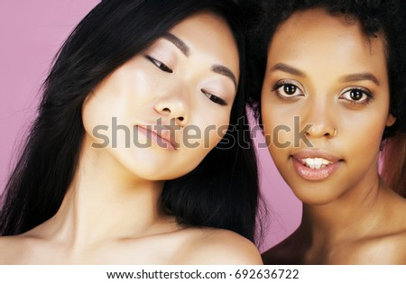 different nation woman: asian, african-american, caucasian together isolated on white background happy smiling, diverse type on skin, lifestyle people concept #692636722