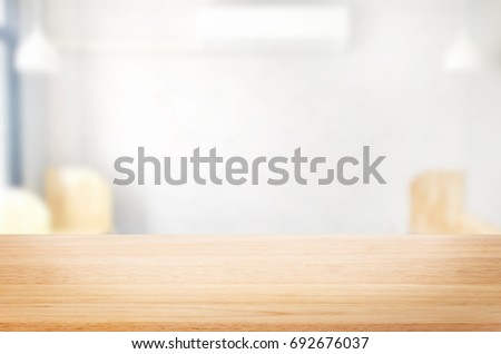 Selected focus empty brown table of wood and room interior background blur background with bokeh image. for your photomontage or product display #692676037