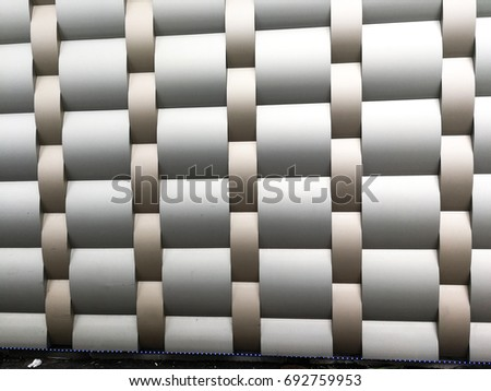 A collection of metallic aluminum architectural patterns painted on an abstract background. #692759953