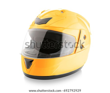 Motorcycle helmet over isolate on white background with clipping path Royalty-Free Stock Photo #692792929