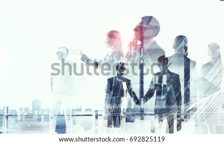 Business partnership and success concept. Mixed media #692825119