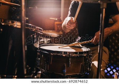 Professional drum set closeup. Drummer with drums, live music concert #692874652