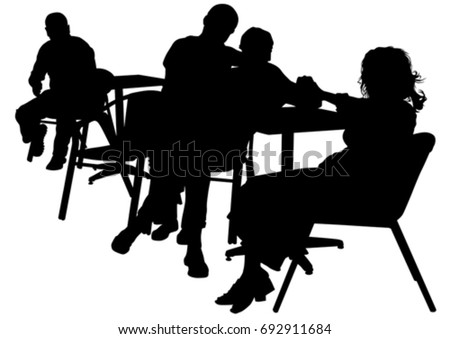 People in urban cafe on white background #692911684