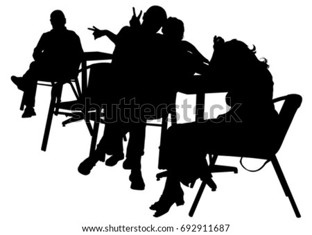 People in urban cafe on white background #692911687
