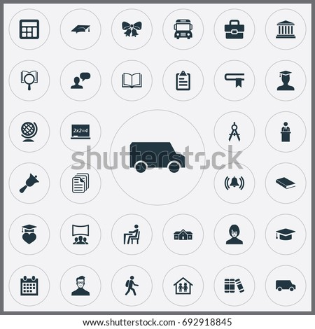 Vector Illustration Set Of Simple School Icons. Elements Chalk, Student, Tribune And Other Synonyms Mater, Globe And Backpack. #692918845