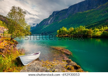 Impressive summer view of Lovatnet lake, municipality of Stryn, Sogn og Fjordane county, Norway. Colorful morning scene in Norway. Beauty of nature concept background. #692930053