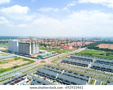 Aerial view of residential houses. #692933461