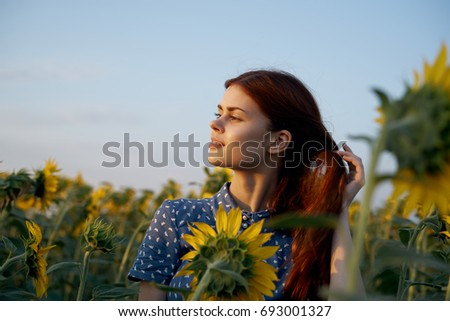 Woman looking at sunset, sunflowers                                #693001327