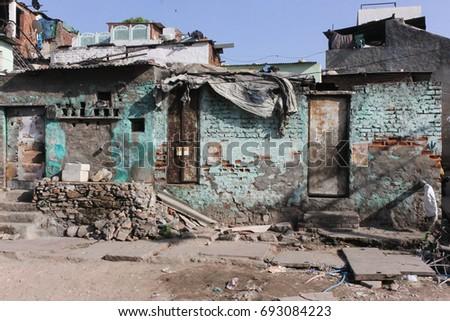 poor peoples homes around jaipur city of rajasthan india #693084223