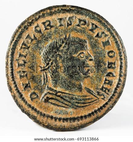 Ancient Roman copper coin of Emperor Crispus. Obverse. #693113866