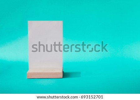 White label on the table Stand acrylic tent card Used for Menu Bar and restaurant can be used for display or montage anything your products or picture frame for Photo or picture painting art . mockup