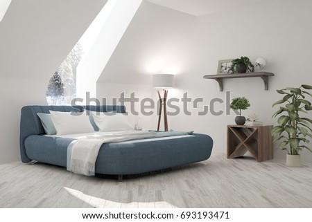 White modern bedroom. Scandinavian interior design. 3D illustration #693193471
