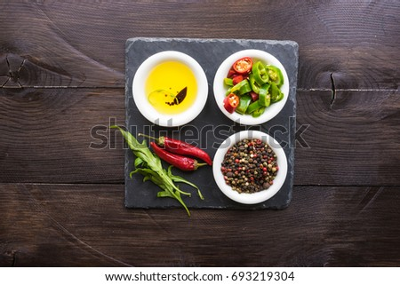 organic spices for salads - pepper corn, pepper, and oil with soy #693219304