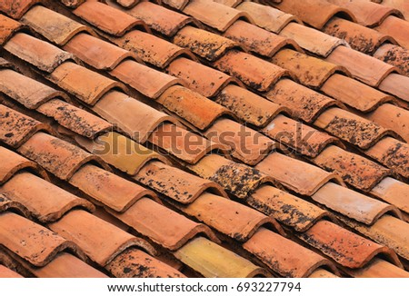 Photo Picture of Tiles on the Building Roof Texture #693227794