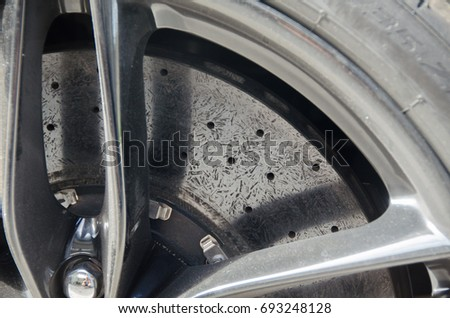 Ceramic brake disc of the sports car #693248128