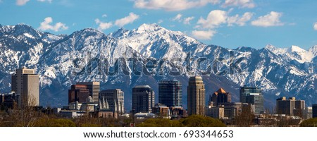 Salt Lake City panoramic Royalty-Free Stock Photo #693344653
