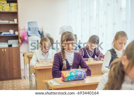 18 february 2015, Russia, Nizhny Tagil. Children, Students in the classroom at school #693440164