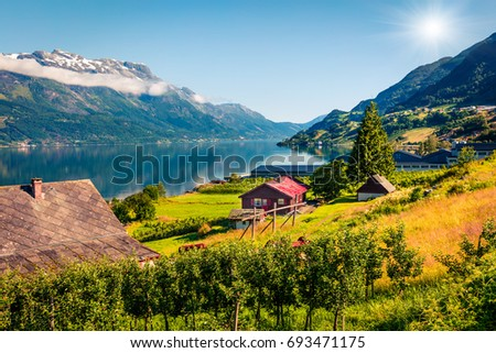 Sunny summer scene in Lofthus village, Hordaland county, Norway. Great morning view of Hardangerfjord fjord. Beauty of countryside concept background.
