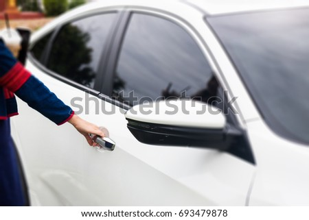 Mirror side of white modern car, stock photo #693479878