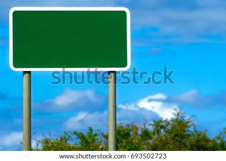 Blank British Motorway Road Sign