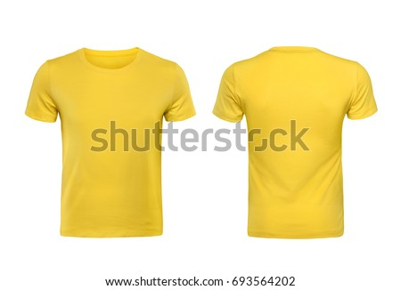 Yellow T-shirts front and back used as design template. Royalty-Free Stock Photo #693564202
