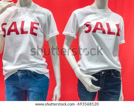 Sale shopping season, promotion discount brand label in front of shop door glasses #693568120