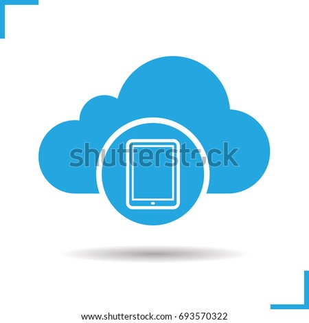Cloud storage tablet computer icon. Drop shadow silhouette symbol. Cloud computing. Negative space. Raster isolated illustration
