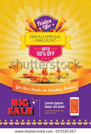 Diwali Festival Sale Poster Flyer Layout Template a4 Size  Royalty-Free Stock Photo #693585367