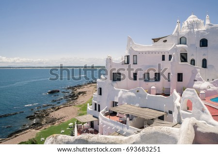 View of the sea from Punta Ballena, Punta del Este Uruguay, Casapueblo. This is a hotel and a gallery art where use to work the famous artist and celebrity Carlos Paez Vilaro #693683251
