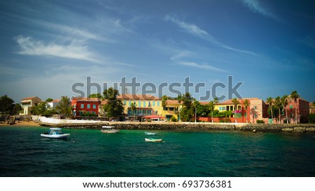 View to historic city at the Goree island in Dakar, Senegal #693736381