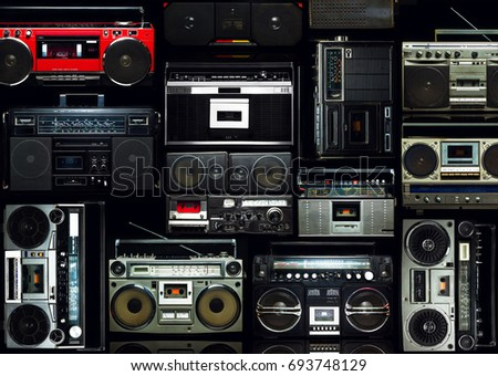Vintage wall full of radio boombox of the 80s #693748129