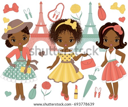 Vector set with cute little African American girls in retro style and fashion accessories. Vector fashion African American girls. Pin-up little girls and Eiffel Tower vector illustration