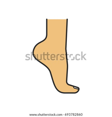 Woman's foot standing on tiptoe color icon. Isolated raster illustration