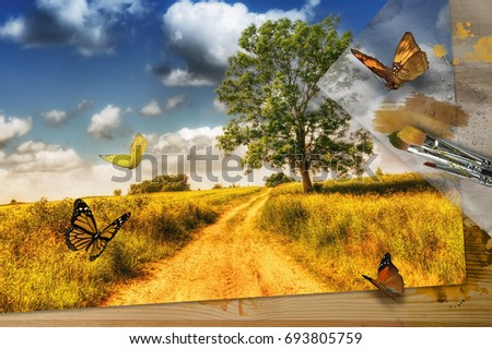 """The artist's landscape that attracted real living creatures. Title - """"Artist's dreams"""".  Sometimes artist's dreams become a reality. #693805759"""