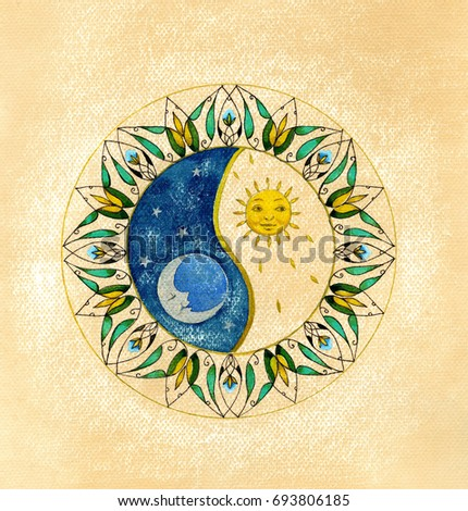 Yin Yang.The Balance symbol with sun and moon. Watercolor ?llustration on vintage background.