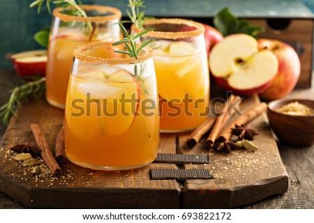 Hard apple cider cocktail with fall cinnamon, cardamom and star anise #693822172