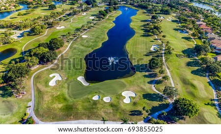 WESTON, FL, USA: Aerial view showing golf course.  #693855025