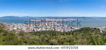 Panoramic Aerial view of Downtown Florianopolis City - Florianopolis, Santa Catarina, Brazil #693921058