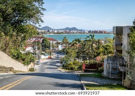 View of Jurere and Jurere beach - Florianopolis, Santa Catarina, Brazil #693921937