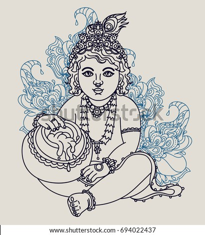 Little Krishna with a pot of butter, can be used as greeting card for Krishna birthday, vector illustration #694022437