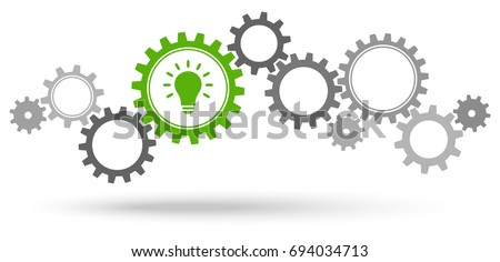 gray gear wheels with green light bulb symbolizing idea or solution Royalty-Free Stock Photo #694034713