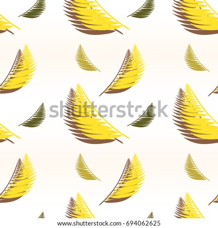 Simple seamless pattern with yellow leaves #694062625
