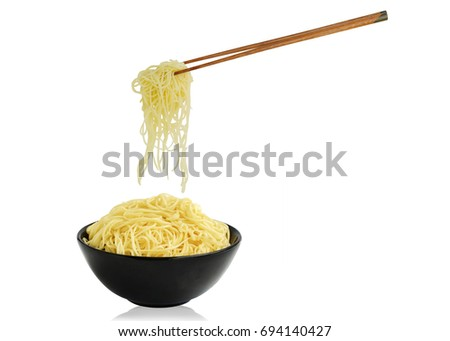 Noodles in bowl  isolated on white background. This has clipping path.                       #694140427