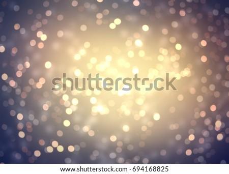 Golden bokeh texture blurred. Retro glitter background. Vintage confetti empty texture. #694168825