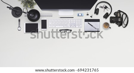 Top view office Royalty-Free Stock Photo #694231765