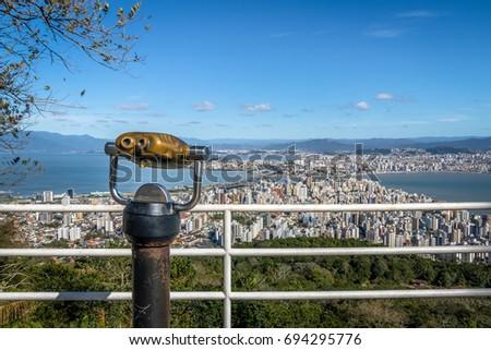 Morro da Cruz Viewpoint and Downtown Florianopolis City view - Florianopolis, Santa Catarina, Brazil #694295776